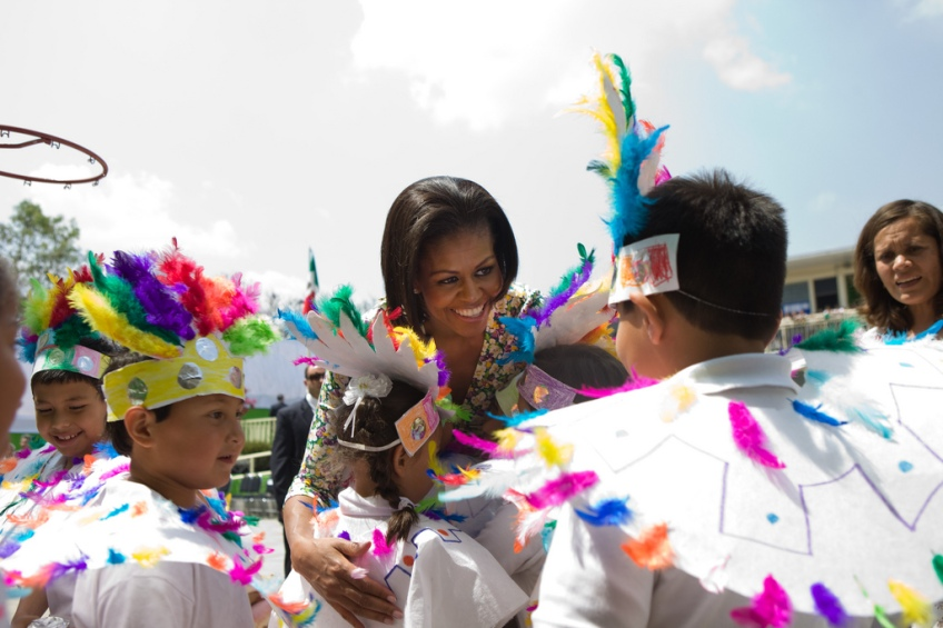 First Lady Michelle Obama greets children during her visit to a school, Escuela Siete de Enero, in Mexico City, Mexico, April 14, 2010. (Official White House Photo by Samantha Appleton)