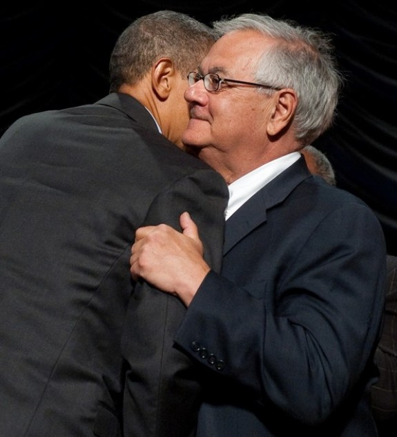 US President Barack Obama hugs Massachusetts Democrat Representative Barney Frank after signing the Dodd-Frank Wall Street Reform and Consumer Protection Act at the Ronald Reagan Building in Washington, DC, July 21, 2010.  Obama signed the most sweeping financial reforms since the 1930s into law Wednesday, promising everyday Americans would no longer have to pay for Wall Street's mistakes. AFP PHOTO / Saul LOEB (Photo credit should read SAUL LOEB/AFP/Getty Images)