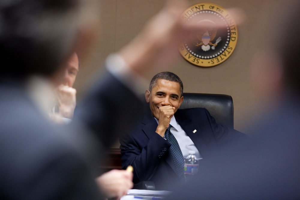President Barack Obama participates in a Transportation Security Administration screening meeting in the Situation Room of the White House, Nov. 22, 2010. (Official White House Photo by Pete Souza)