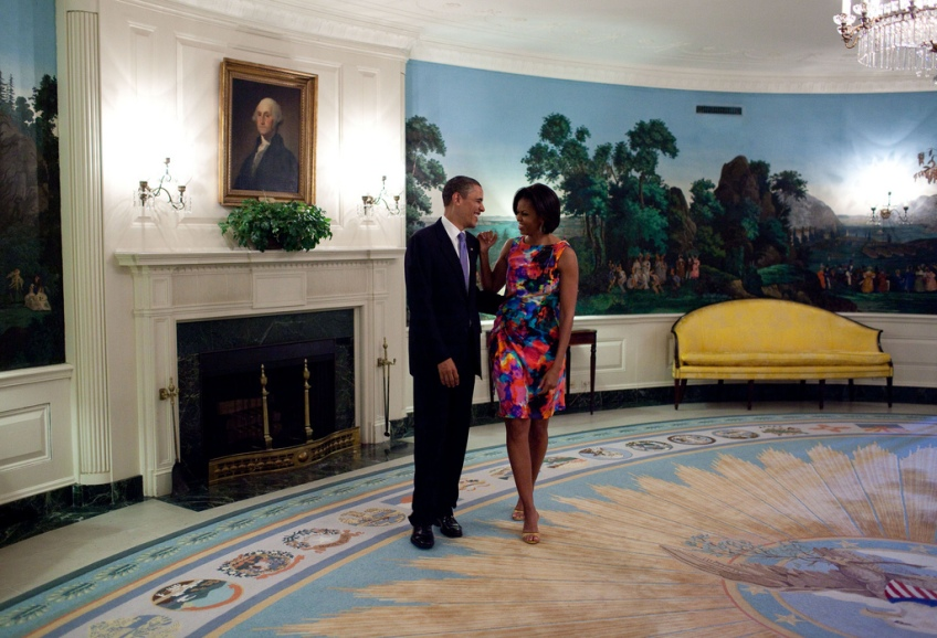 """May 5, 2010: """"After doing a series of posed photos, the President started joking around with the First Lady in the Diplomatic Reception Room of the White House before a Cinco de Mayo event."""" (Official White House Photo by Pete Souza)"""