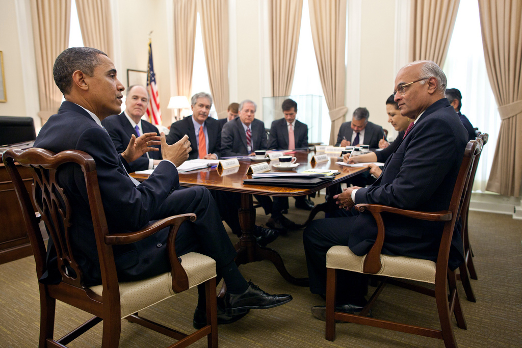 President Barack Obama talks with National Security ...