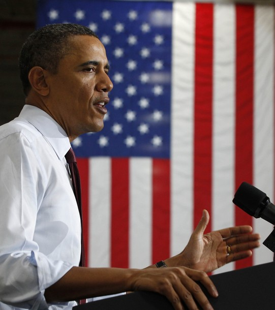 U.S. President Barack Obama talks about the economy at a power technology company in Manitowoc