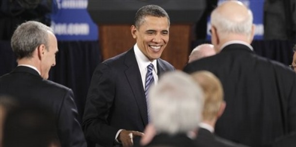 President Barack Obama greets audience members after speaking at the U.S. Chamber of Commerce in Washington, Monday, Feb. 7, 2011. (AP Photo/Charles Dharapak)