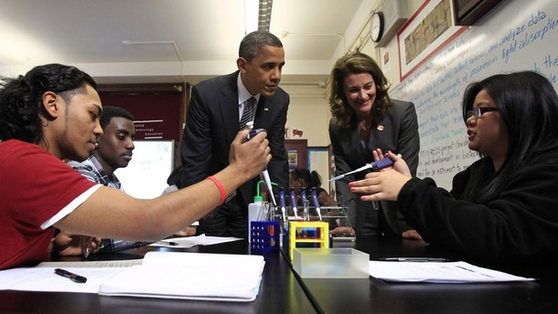 U.S. President Barack Obama and Melinda Gates visit a classroom at TechBoston Academy in Boston