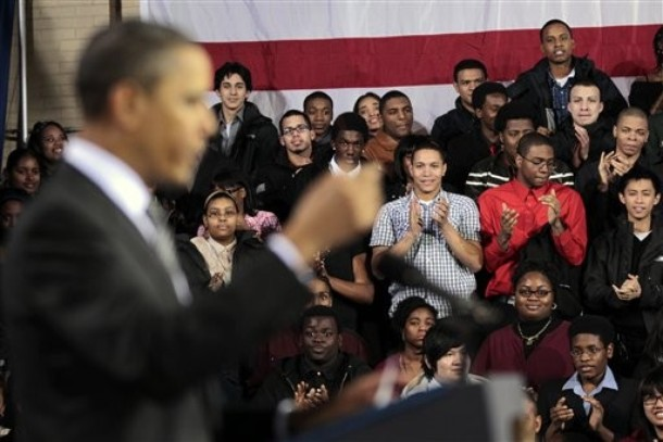 Students at TechBoston stand as they applaud President Barack Obama as he speaks during his visit in Boston, Tuesday, March, 8, 2011.(AP Photo/Pablo Martinez Monsivais)