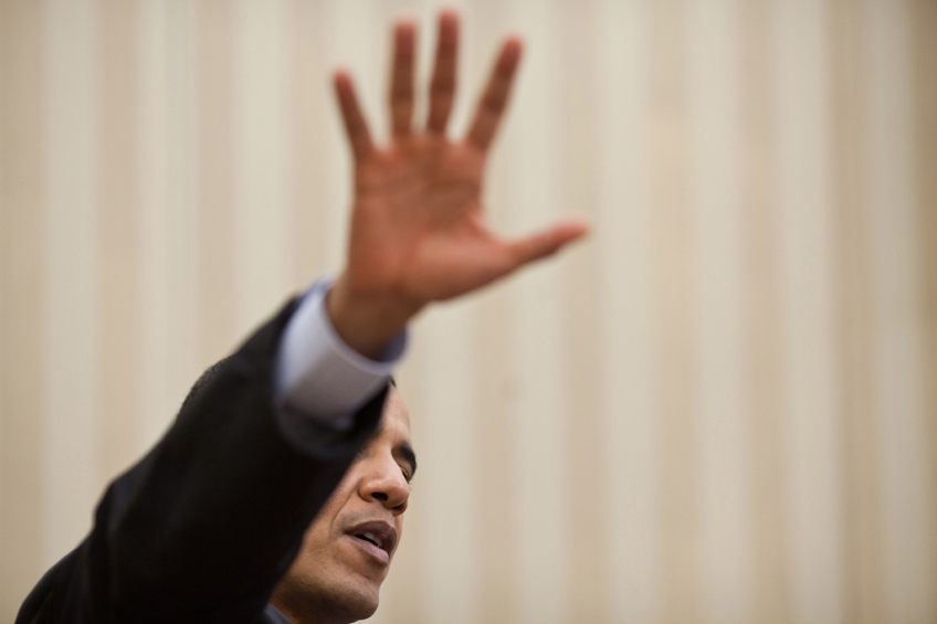 President Barack Obama gestures during a meeting in the Oval Office, Feb. 21, 2011. (Official White House Photo by Pete Souza)